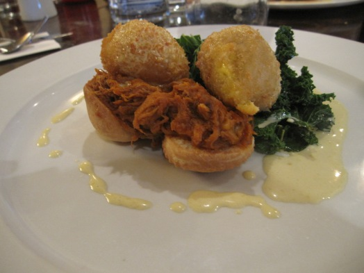 I had the Crispy Duck Eggs Benedict with Pulled Pork and a side of collard greens.