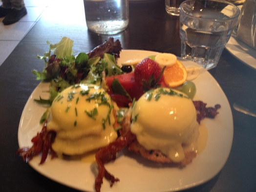 Eggs Benedict on a Miniature Waffles at Starving Artist