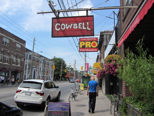 Cow Bell's Cute Sign makes the restaurant easy to find in Parkdale Toronto