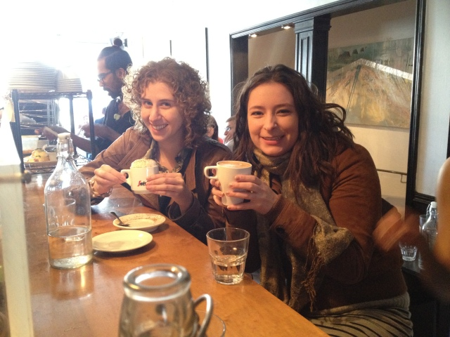 Mel Z and Rachel enjoying their lattes and cappuccinos while waiting for a table