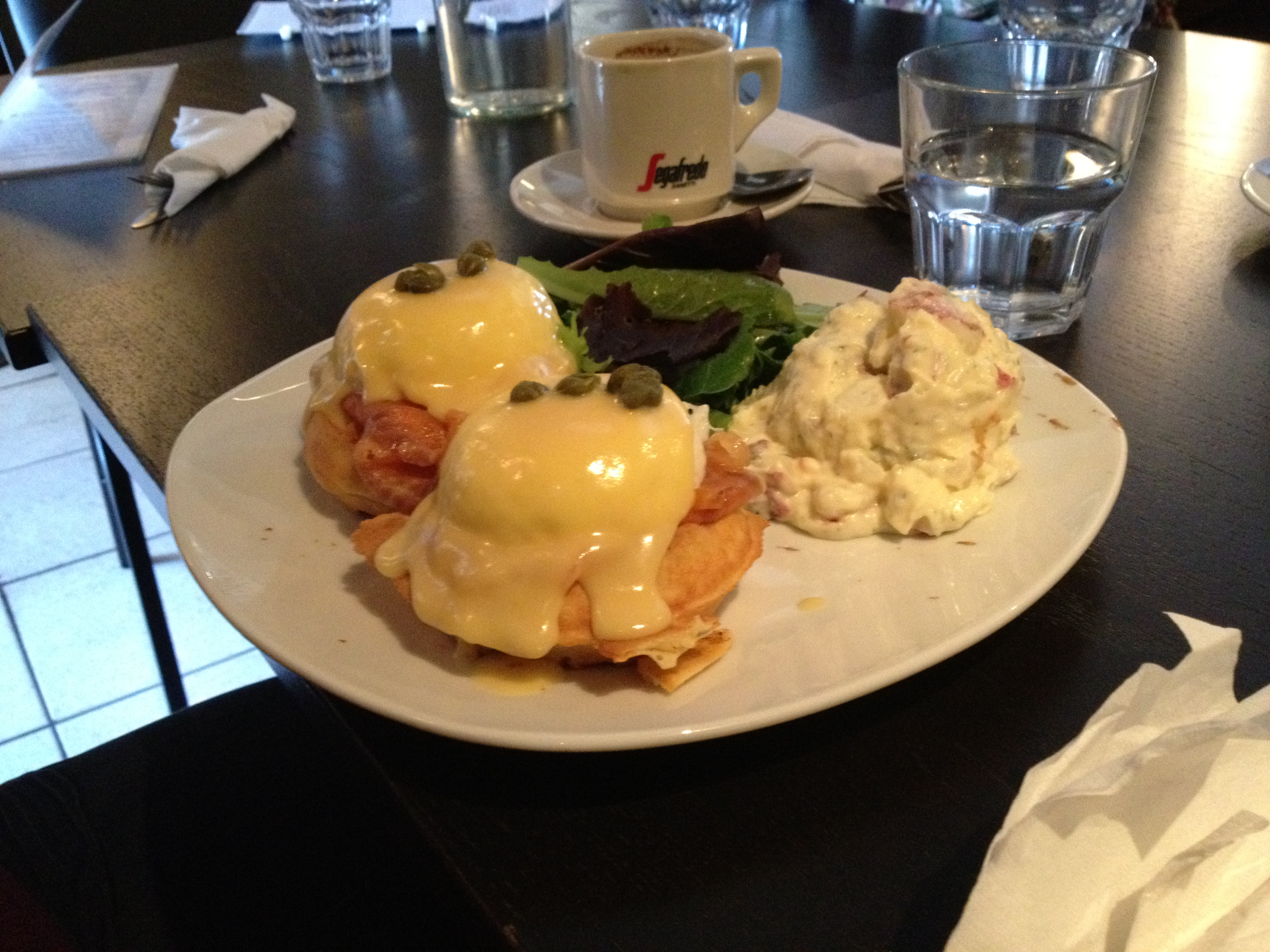 Salmon Eggs Benny with Potato Salad on the side