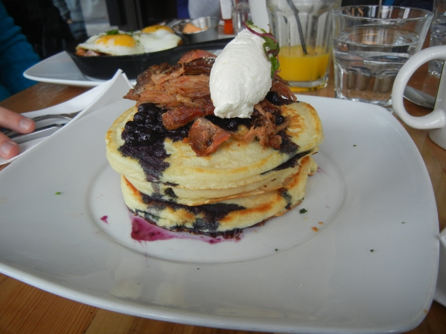 the Savoury Pancakes - Smoked Duck Leg, Blueberry Compote and Chevre