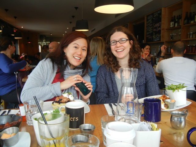 Mel and KT enjoying their meals at Barque