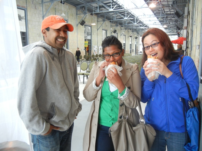 V, Squiggy and Melissa enjoying their Breakfast! FARMER'S Market Toronto the Stop