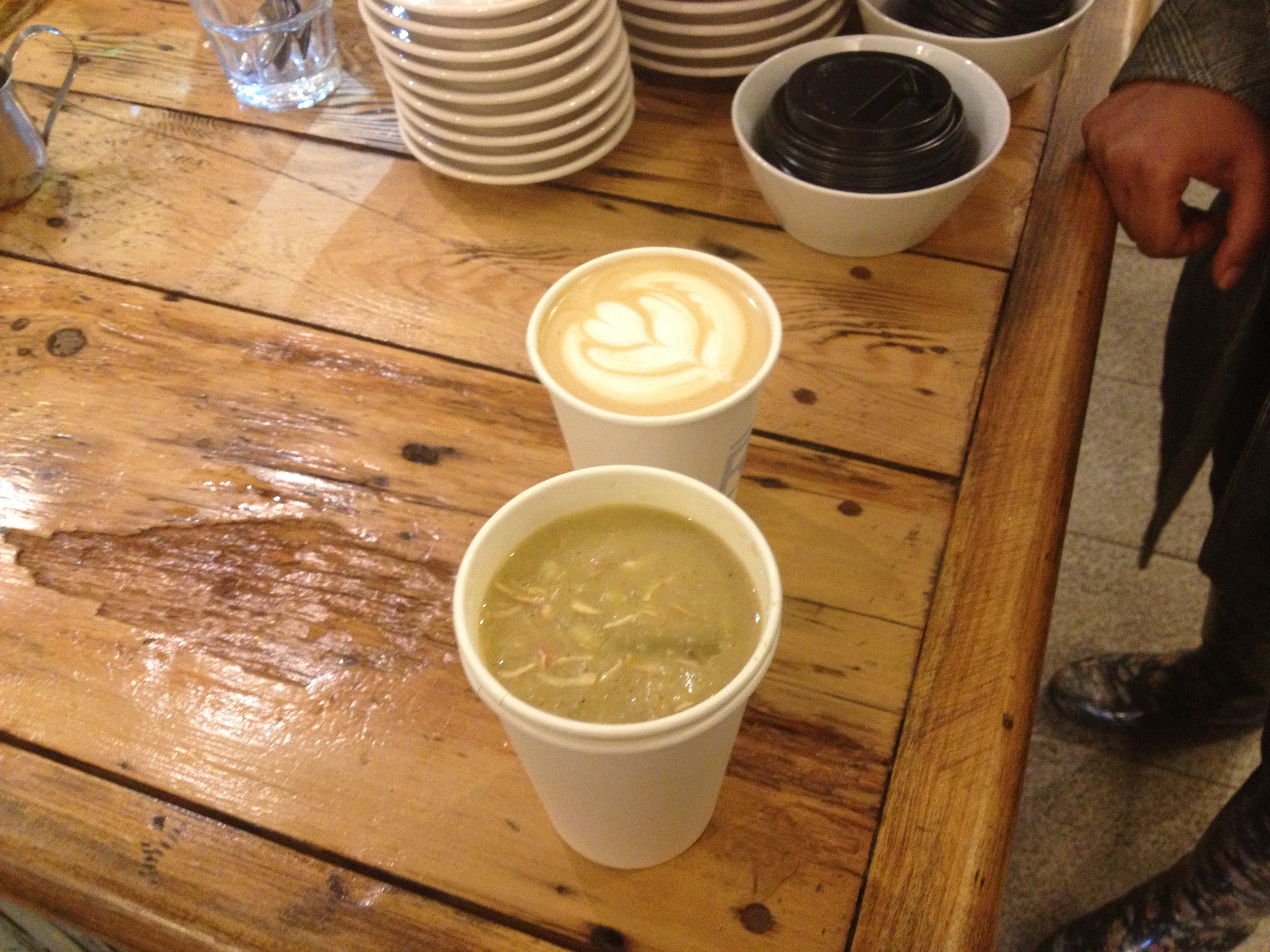 Cup of Soup and hand-crafted PB & Carmel Latte