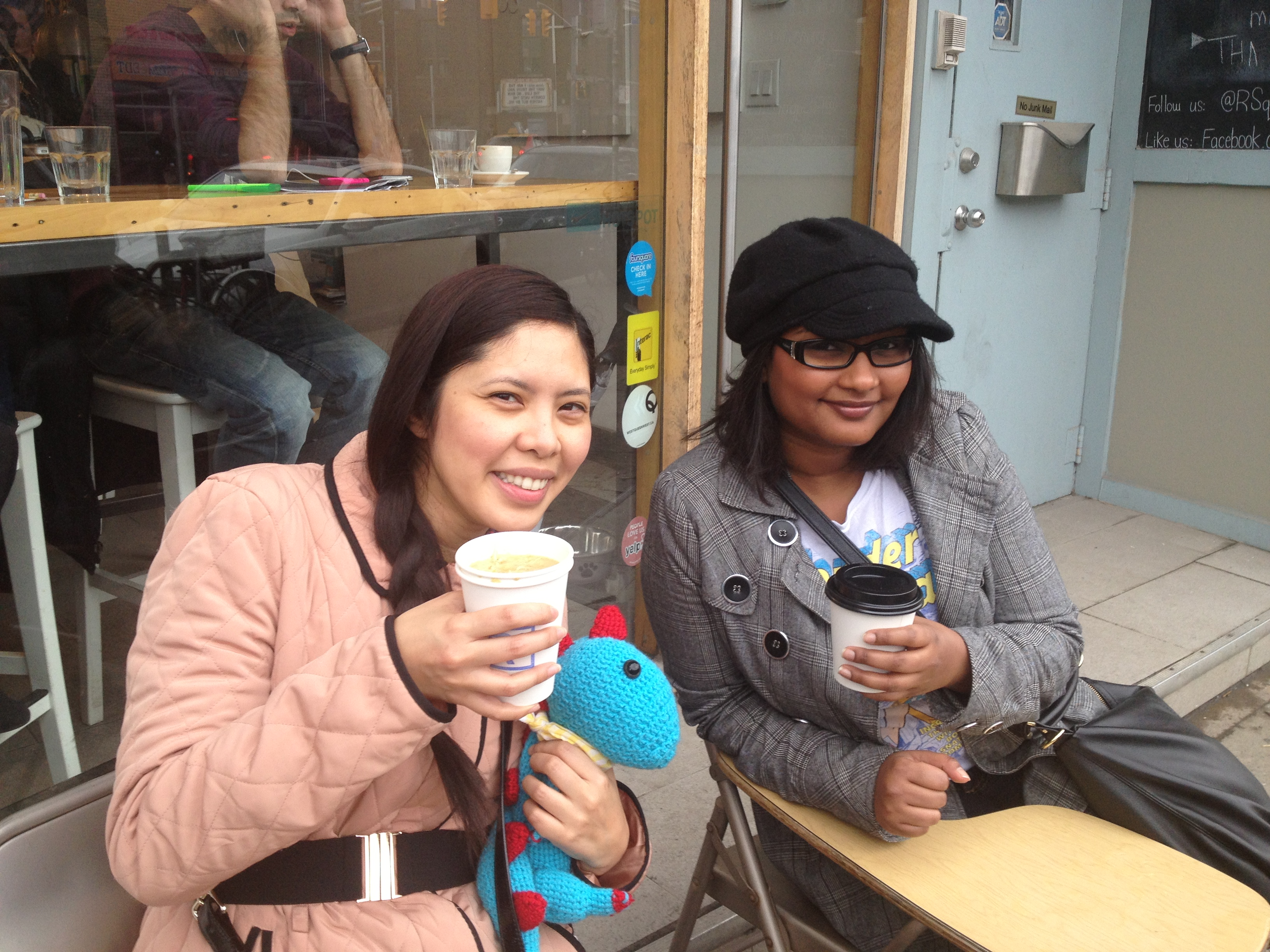 School's Out - Vanessa and I enjoying our soup and coffee at RSquared