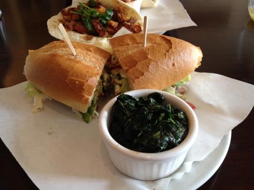 Fried Chicken Sandwich with Collard Greens