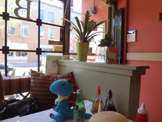 Benny sunning in Baldini's front window