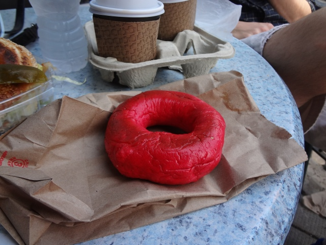 Kettleman's red dyed bagel for Canada Day
