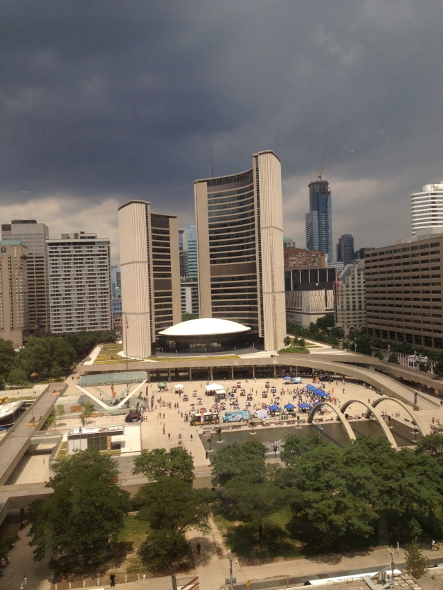 Unique view of Nathan Phillips Square and City Hall from the Cambridge Club