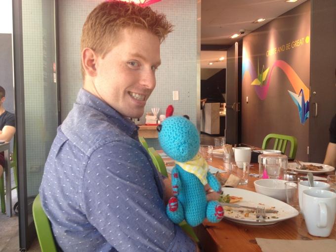Derek meeting Benny for the first time! Brunchosaurus!