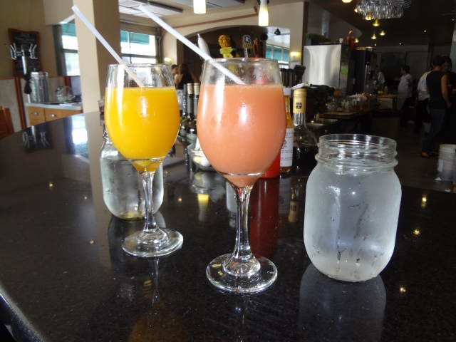 Mimosas to start our morning - Strawberry Banana and Orange Stonefaced Dolly's Brunch Ottawa
