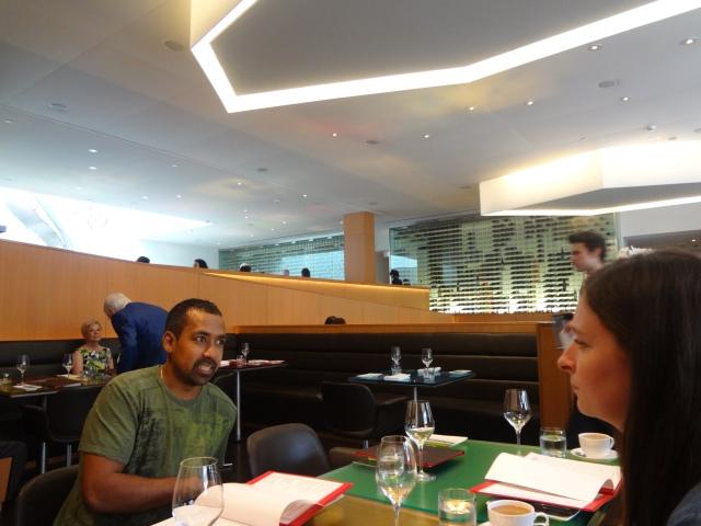 Squiggy and Rachel discussing menus