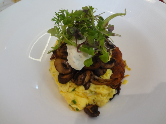 mushroom rösti sweet potato rösti with wild mushroom and truffles herbed goat cheese