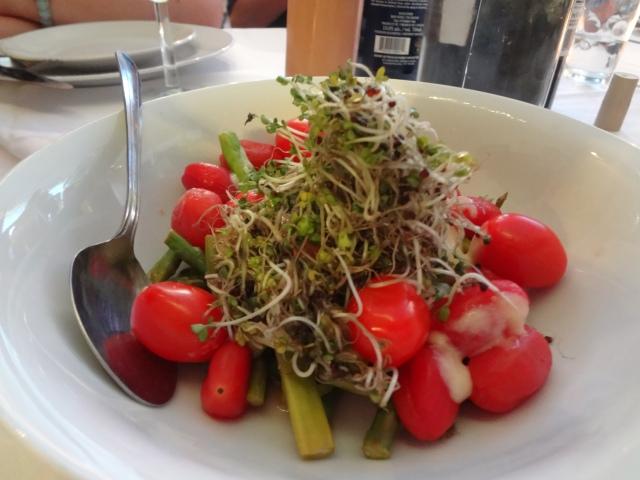 asparagus/fresh tomato/peeled and pickled tomato/corn milk/broccoli sprouts Squiggfeast