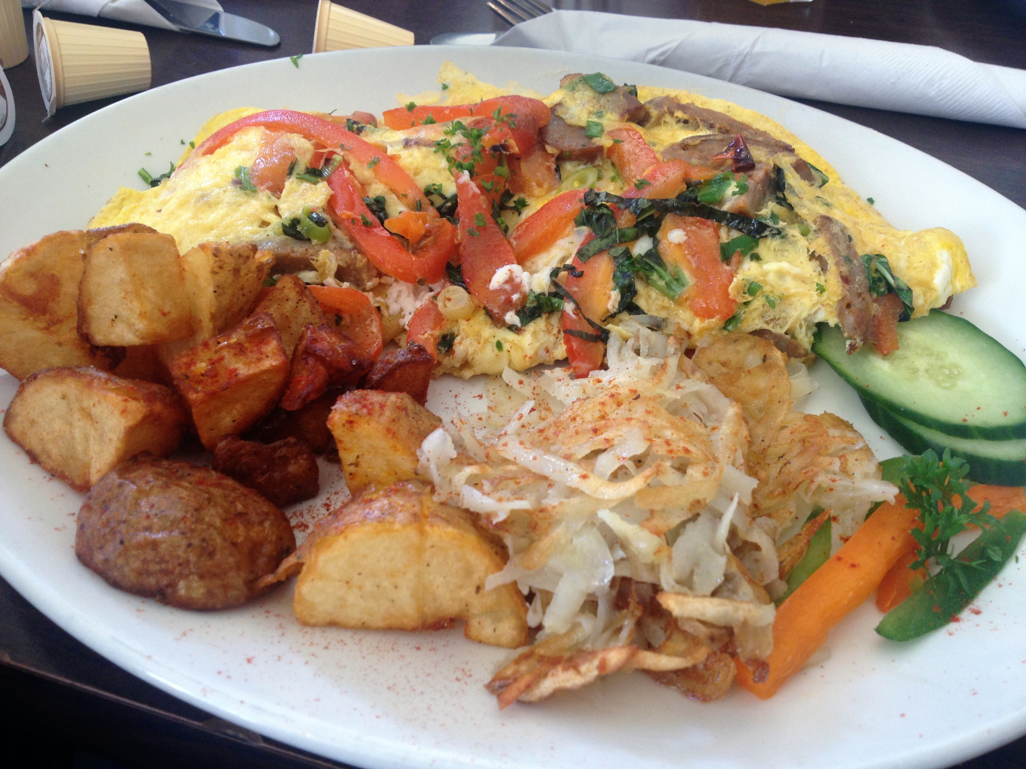 Italian Omelette with sausage, red pepper and goat cheese Figs Brunch Toronto
