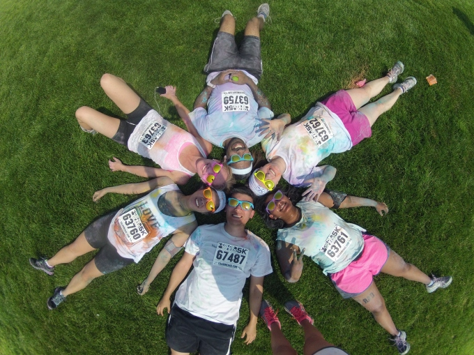 Team Brunchosaurus at the Color Me Rad 5K in Downsview Park!