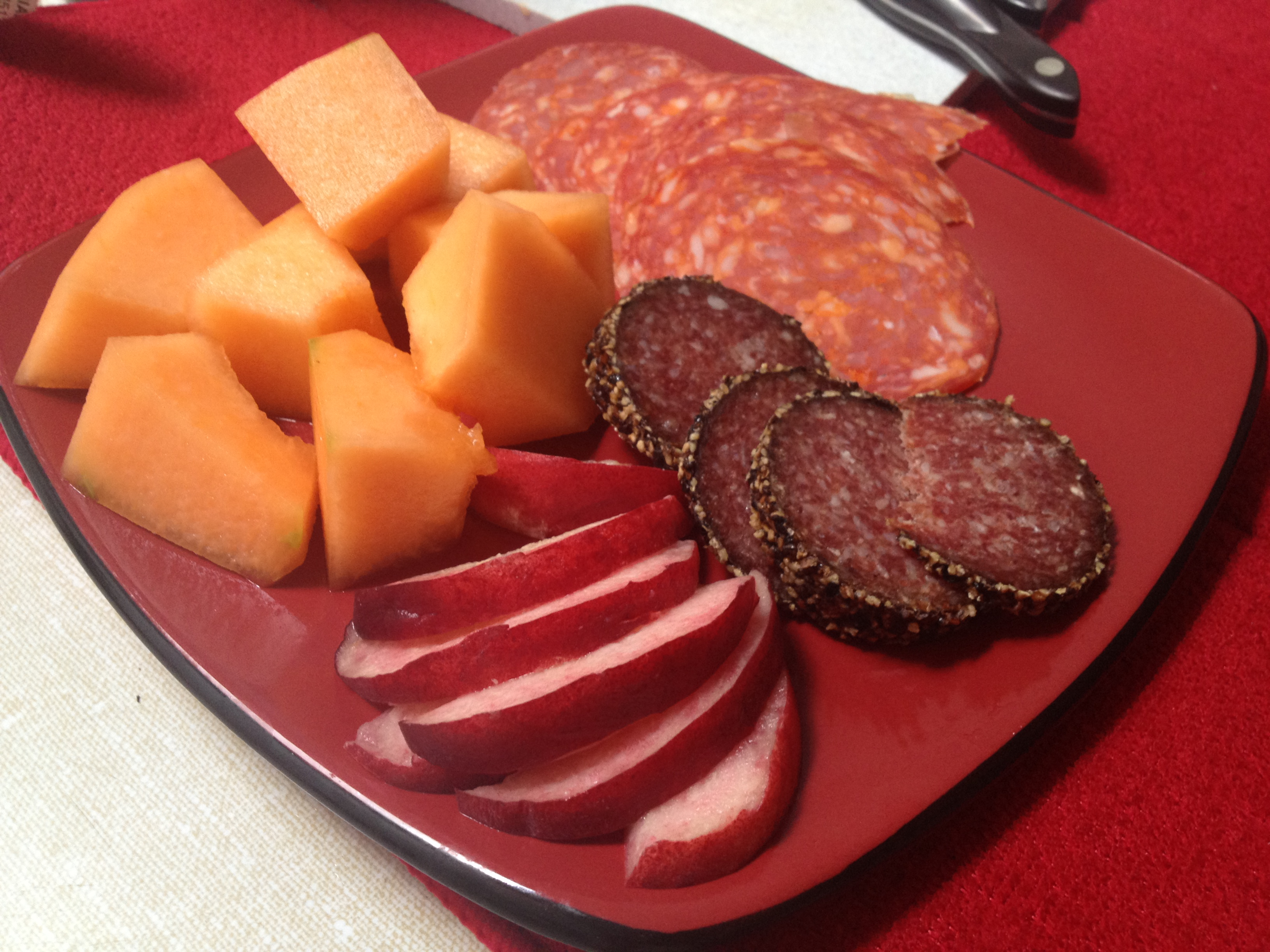 Marketed Meal - Ripe sweet canteloupe, white peaches, mennonite sausage. Delish!